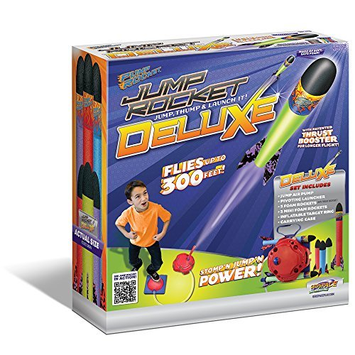 Geospace Jump Rocket Deluxe Set   With Adjustable Launcher  Target And 3 Jr   3 Mini Soft Foam Rockets By Geospace