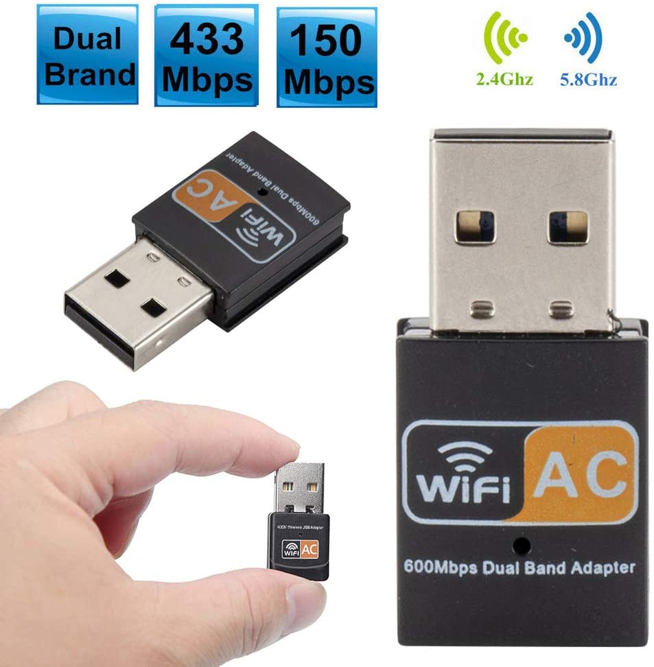 Misszhang-US 11AC 600M Portable Wireless USB 2.0 WiFi Network Card Adapter for Windows PC Black
