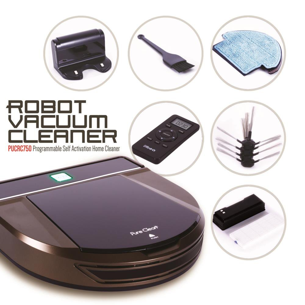 Pure Clean Automatic Robot Vacuum Cleaner - Programmable Self Activation and Charge Dock - Robotic Auto Home Cleaning for Clean Carpet Hardwood Floor - HEPA Pet Hair & Allergies Friendly - PUCRC750