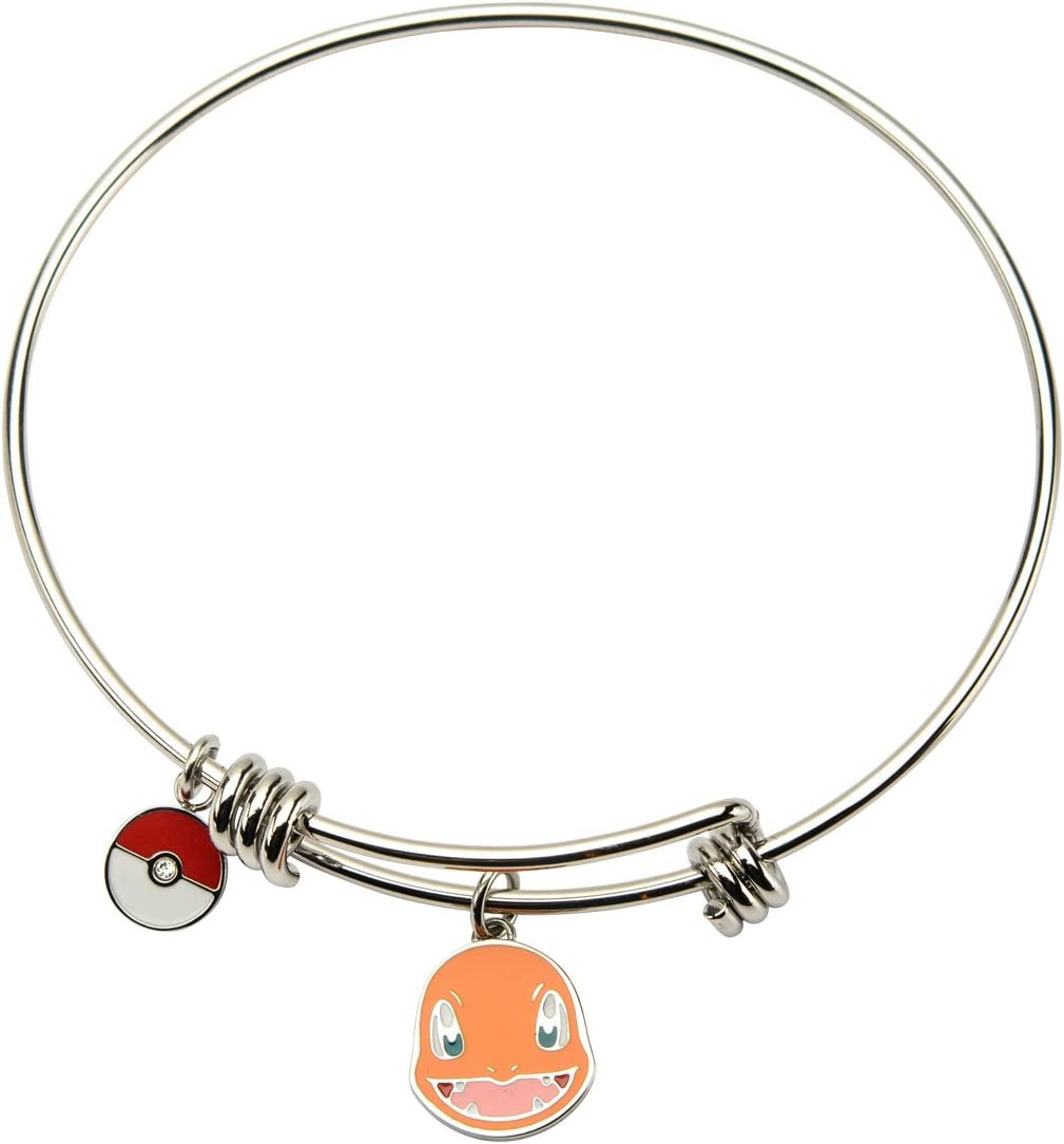 INOX Pokemon Charmander & Poke Ball Charm Stainless Steel Expandable Bracelet