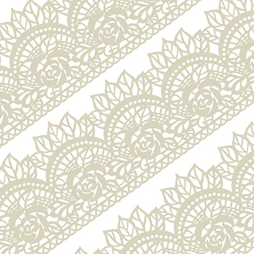 Funshowcase Large Pre-Made Ready to Use Edible Cake Lace Rose Scallop Ivory White 14-inch 10-piece (Sugar Lace)