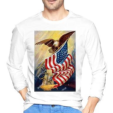 9d9addff93e SY COMPACT Vintage Polish American Flag Eagle Men Casual Style Crew Neck  Long Sleeve T-Shirt | Amazon.com