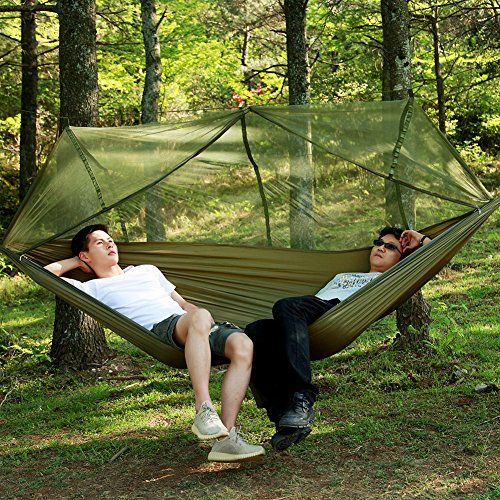 Camping Hammock with Mosquito Net can Withstand 440 LBS ,Parachute Fabric Outdoor Portable Travel Double Bed Lightweight Fabric for Indoor,Camping,Hiking,Backpacking,Backyard,Beach by Meetest 2018 New