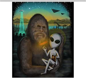 LNC 01P Aliens and Bigfoot Home Decor Shower Curtain Waterproof Bathroom Shower Curtain Quality Polyester Bathroom Shower Curtain Set with Hooks 60