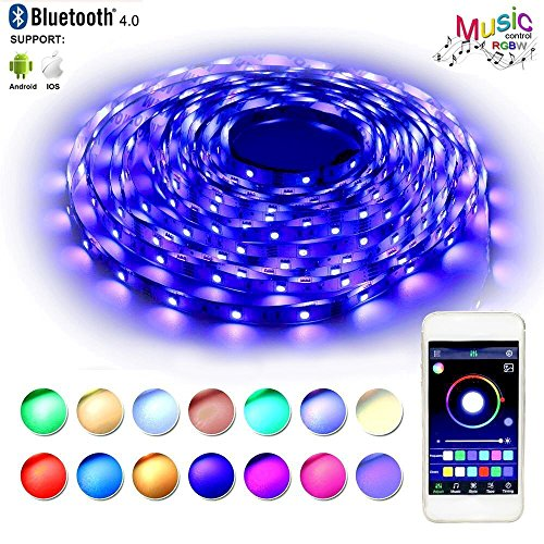RaThun Bluetooth Led Strip Lights 10M 32.8 Ft 5050 RGB 300 Leds Flexible Color Changing Full Kit with Bluetooth Smartphone App Controller,12V 5A Power Supply for Home lighting Decorative (Sign Roll Border)