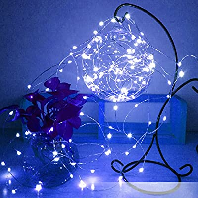 33 Feet 100 LED Portable Waterproof Indoor Outdoor Decorative Copper Wire Fairy String Lights Battery Operated Dimmable with Remote for Patio Wedding Seasonal Holiday