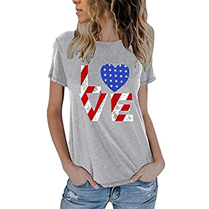 06754ba6a Amazon.com : Women's Casual 4th of July Shirt American Patriotic T Shirts  American Flag Star Love Print Short Sleeve Tank Tops : Sports & Outdoors