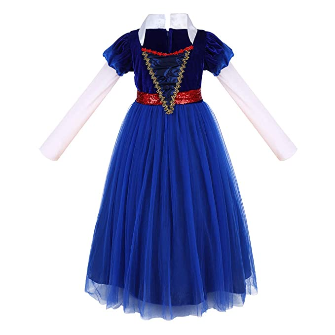 Christmas Carnival Theme Outfit.Girls Snow White Costume Princess Gowns Fancy Dress Up Cosplay Halloween Christmas Carnival Party Outfit