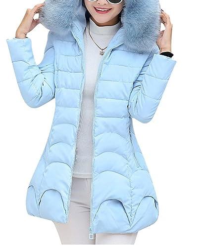 Mujer Manga Larga Abrigo Acolchado Chaqueta Larga Abrigo Slim Fit Casual Coat Cielo Azul M