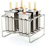 Baffect acciaio inossidabile Popsicle stampo con Stick Holder gelato Mold set di 6