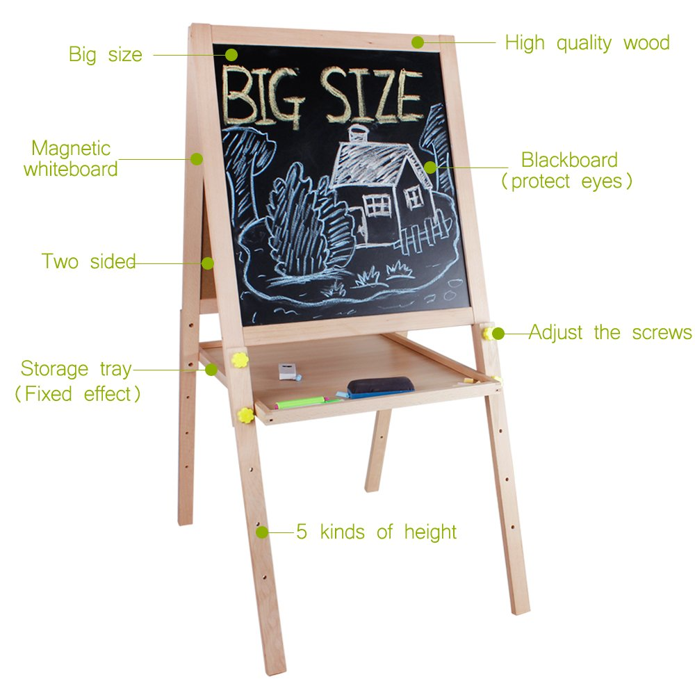Kids Standing Art Easel Wooden Double Sided Adjustable Height Magnetic Drawing Board with Tray and Accessories by YIRAN (Image #4)