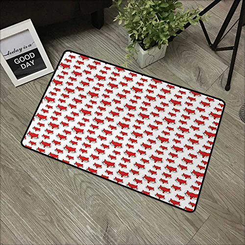 (Bathroom door mat W31 x L47 INCH Fox,Cartoon Hipster Red Lady Fox with Glasses and Buckle inside a Circle of Dots,Mint Green Beige Red Our bottom is non-slip and will not let the baby slip,Door Mat Ca)