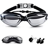 Nearsighted Swimming Goggles (-0 to -8.0), Goodsmiley Myopic UV400 Anti-fog Waterproof Leakless Goggles with Siamesed Earbuds, Nose Clip for Shortsighted Men, Women, Youth Swimmers