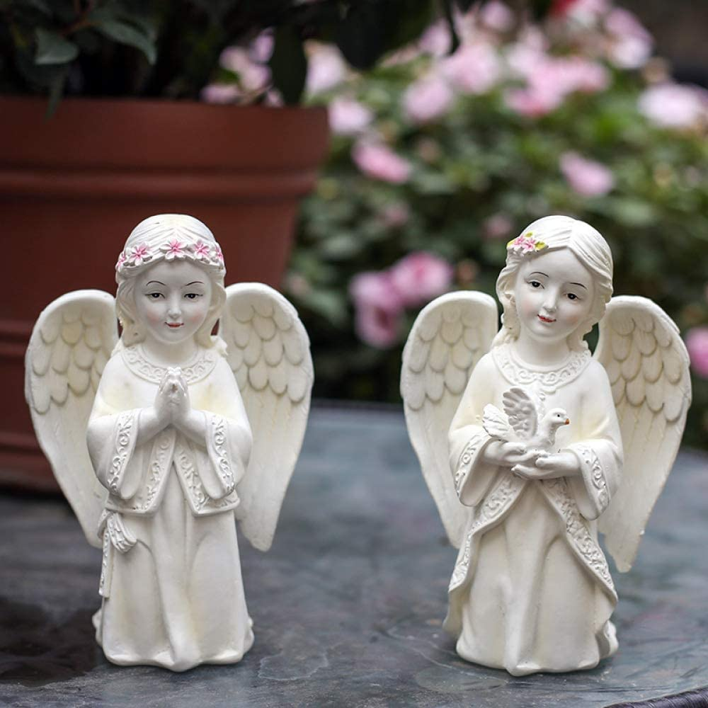 NuAnYI Praying Cherub Girl Angel Holding Dove Garden Statue Outdoor Decor,C+2pcs