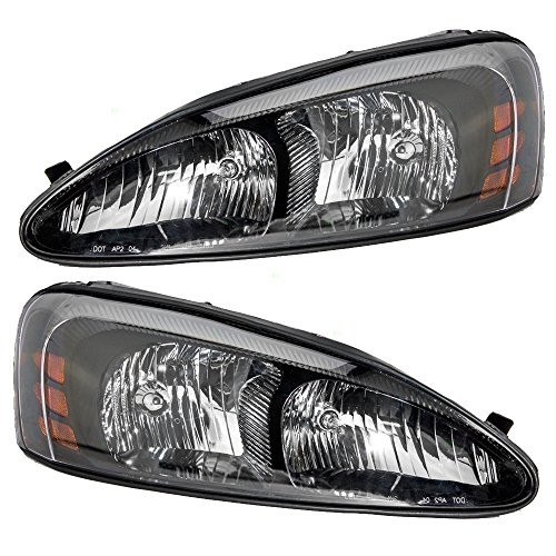 Driver and Passenger Headlights Headlamps Replacement for Pontiac 25851404 25851403 Replacement Headlight Driver
