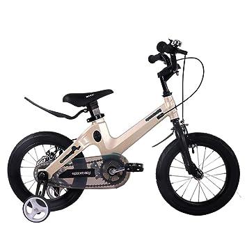1-1 Bicicleta para niños Ligero Aleación de magnesio Freno de Disco Doble Absorción de Golpes Altura Ajustable Niño Niña 14 Pulgadas Bicicleta,Gold: ...
