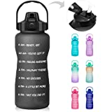 64 OZ/Half Gallon Motivational Water Bottle with Time Marker & Straw - BPA Free Leakproof Tritan Frosted Plastic Big 2L Water