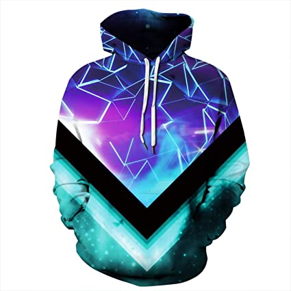 Mjia 3D Hoodie,Unisex, 3D Digital Starry Pattern, Colorful Hoodie, Long Sleeve