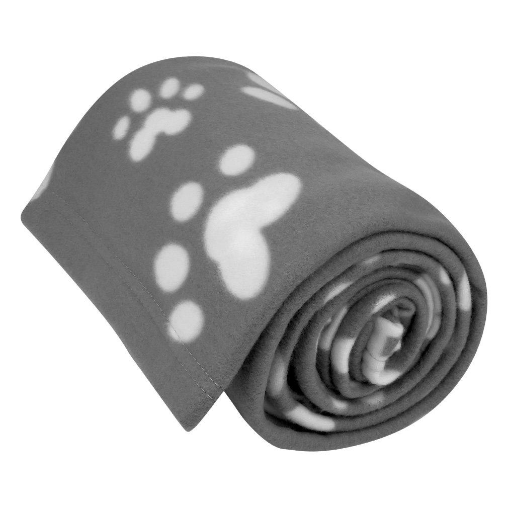 Evelots Fleece Pet Blanket, Gray/White, 60x40
