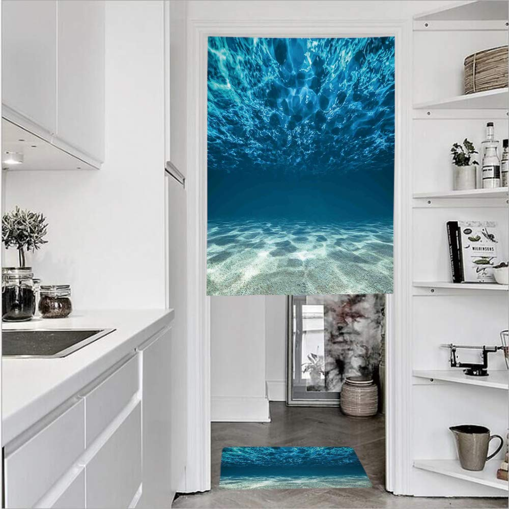 """3D Printed Linen Textured French 1 Panel Door Curtains and 1pcs Doormat Kitchen Mat Rug,Bottom and Wavy Surface Tropical Seascape AbyssSingle Panel door curtain 35.4""""w by 51.2""""h + 1 PCS Doormat 19.7""""h"""