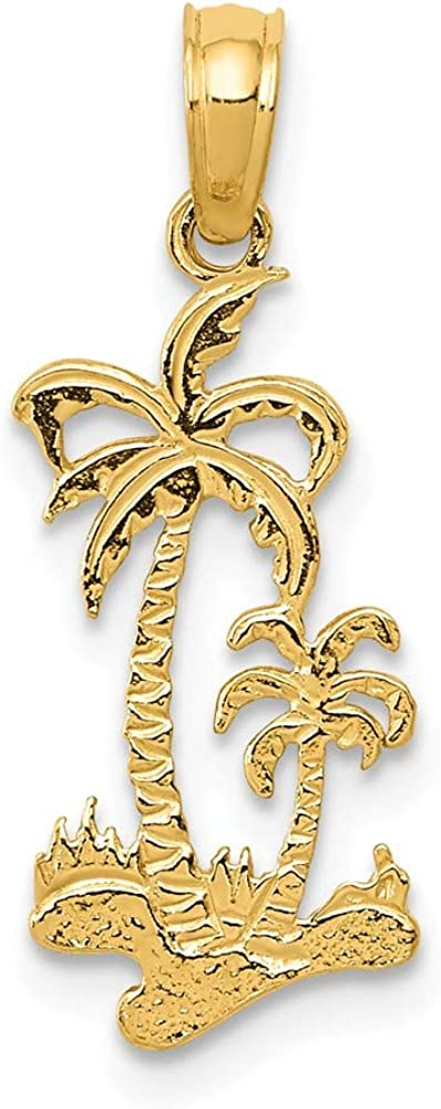 "14K Solid Yellow Gold Diamond Cut Designer Palm Tree Charm Pendant 0.8 gr 0.5/"""