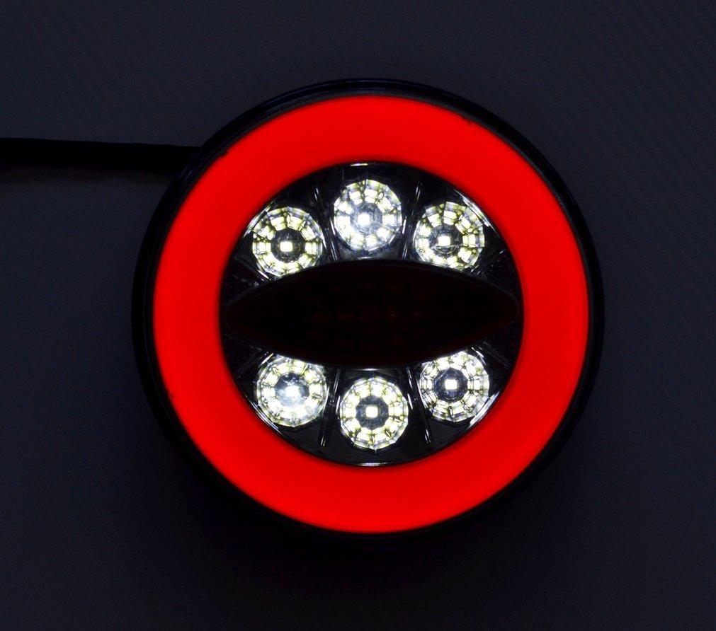 2/x LED neon rotonda hamburger Real Tail combination 12/V 24/V luci spia di retromarcia lampade camion rimorchio Chassis