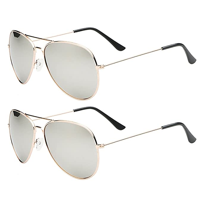 46e6049d6a4 SHEOMY COMBO OF STYLISH GOLDEN SILVER MERCURY AVIATOR AND GOLDEN SILVER  MERCURY AVIATOR SUNGLASSES WITH 2 BOX Best Online Gifts  Amazon.in   Clothing   ...