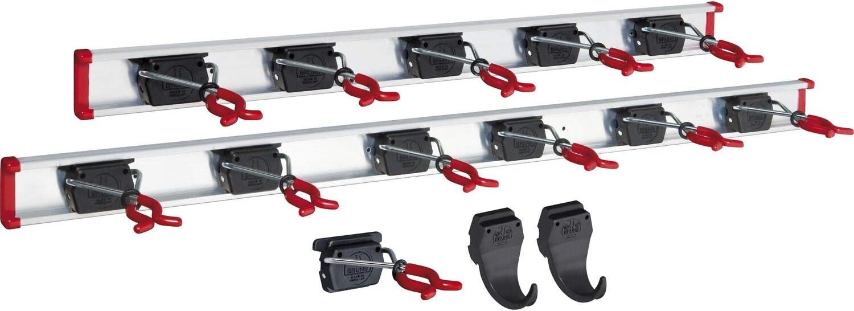 inkl 12 Halter und  2 Haken BRUNS Alu-Ger/ätehalter-Set mit Schiene 1000 mm und 750 mm
