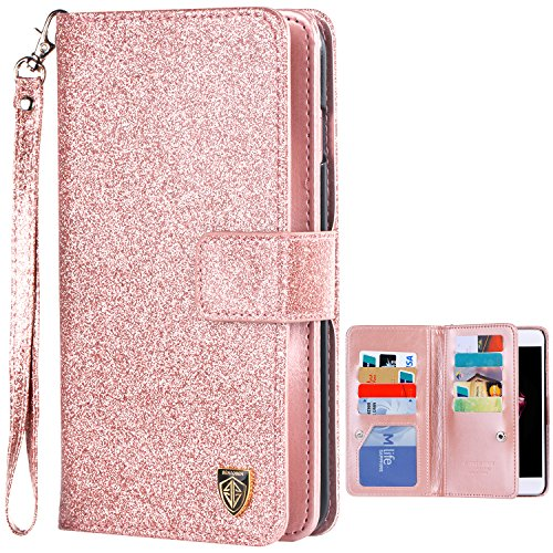 iPhone-7-Plus-Case-iPhone-7-Plus-Wallet-Case-BENTOBEN-RFID-Blocking-WalletMakeup-Mirror-Credit-Card-Holder-Money-Pouch-Premium-Faux-Leather-with-Hand-Strap-Protective-Case-for-iPhone-7-Plus
