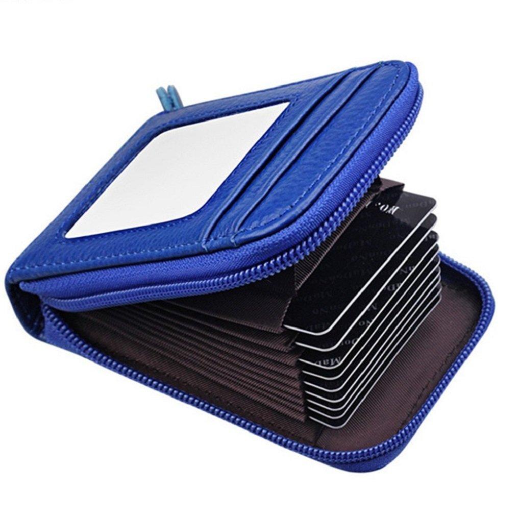 VADOOLL Leder Karten Geldbörse Leder Kreditkartenetui RFID Scheckkarten Kartenetui Visitenkartenetui Hülle-Halter-Schutz Damen Herren 12 Fächer