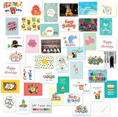 40 Birthday Cards Assortment – Happy Birthday Cards Bulk Box Card Sets for Women and Men, Children and Adults - Blank Cards With Envelopes