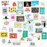 Fresh & Lucky 40 Birthday Cards Assortment – Happy Birthday Card Bulk Box Card Sets Women Men, Children Adults - Blank Cards Envelopes