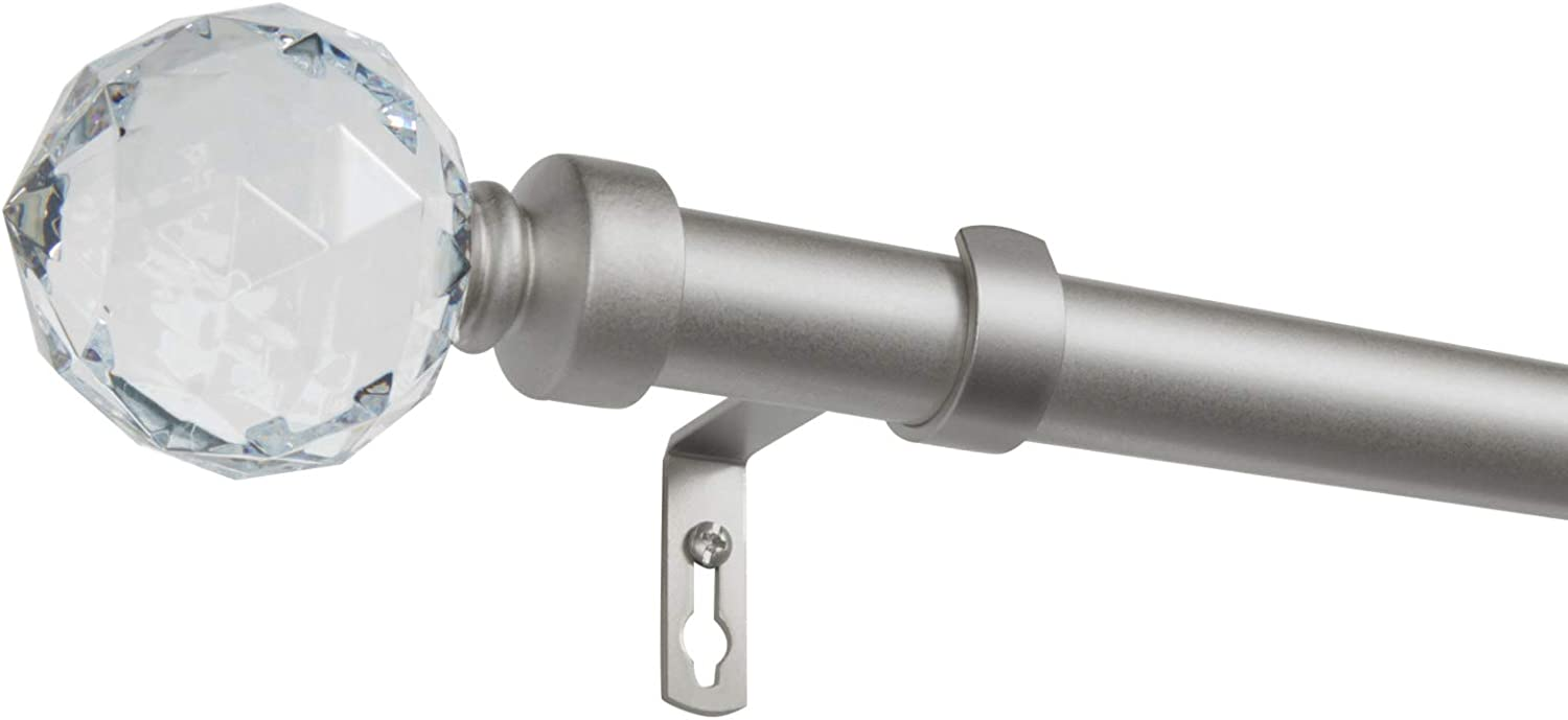 Adjustable 66-120 Matte Bronze Exclusive Home Crystal Ball 1 Curtain Rod and Coordinating Finial Set