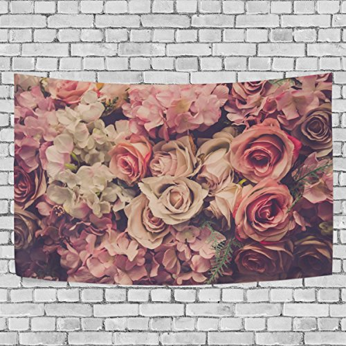 OPRINT tapestries Valentine'S Day Pink Rose Softe Color Romantics Wall Decor Hippie Tapestries tapestry wall art,bedroom living room dorm wall hanging, home décor tapestry - Roses Tapestry