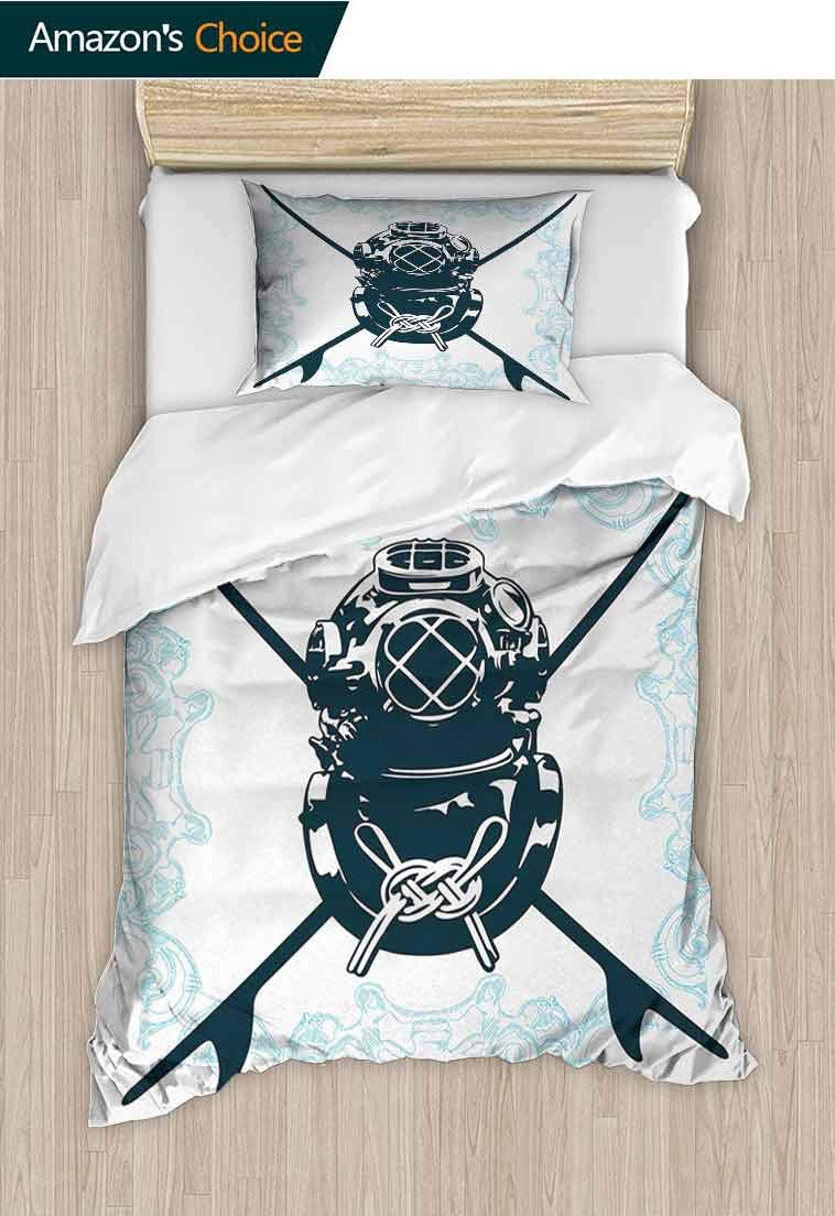 Surf Printed Quilt Cover and Pillowcase Set, Surf Sign with Diving Suit and Elements Myst Underwater Recreational Design, Decorative 2 Piece Bedding Set with 1 Pillow Sham, 39 W x 51 L Inches by carmaxshome
