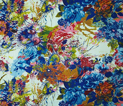 Abstract Print White Cotton Fabric Dress Making Sewing Fabric By Per Yard