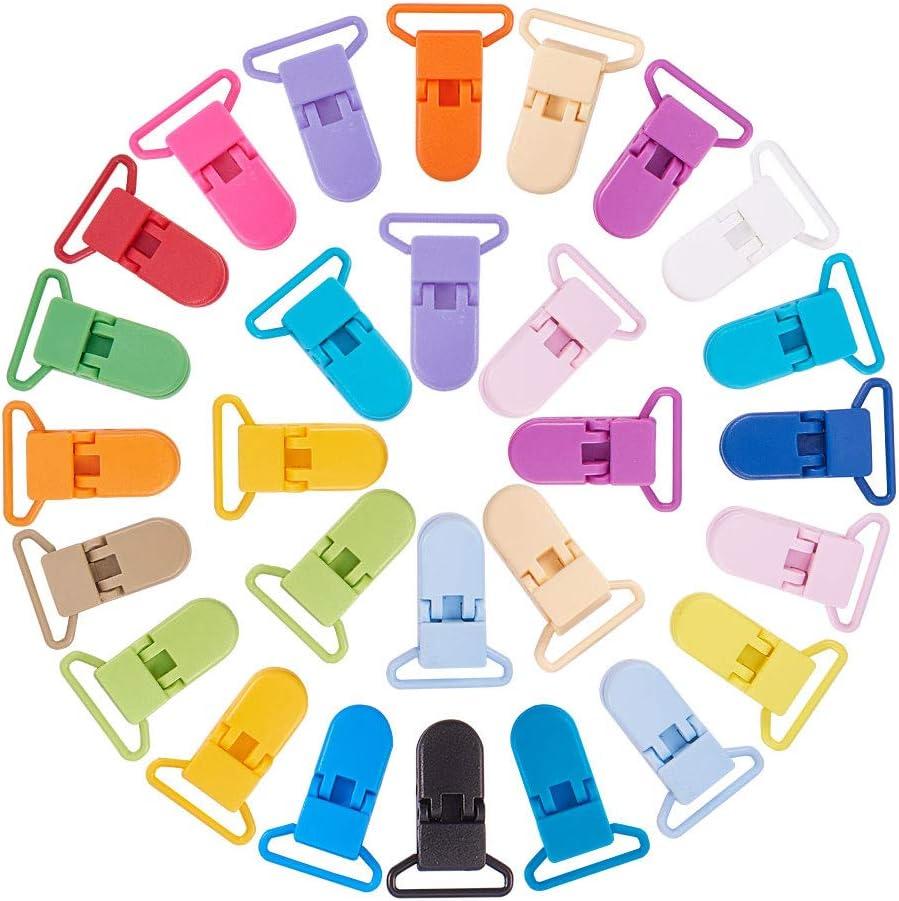 PandaHall Elite 80 Pcs Clips Ambiental de Plástico para Fijar Chupete de Bebé, Productos Essentiales para Hogar, 20 Colores, 43x31x9 mm