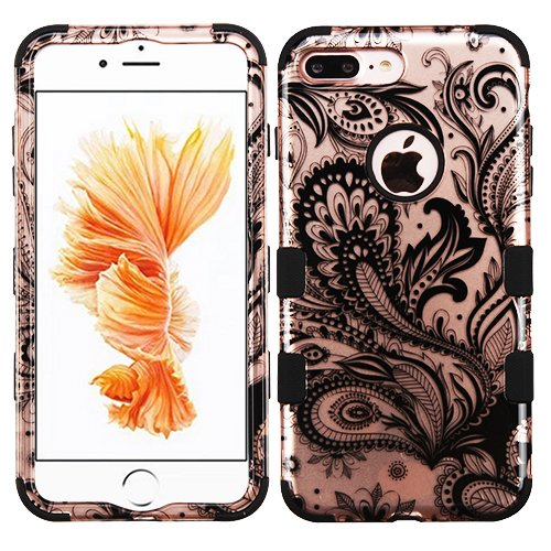 Wydan Compatible Case for iPhone 8 Plus/iPhone 7 Plus - TUFF Hybrid Hard Shock Absorbent Case Protective Heavy Duty Impact Skin Cover - Phoenix Flower For Apple (Phoenix Flower)