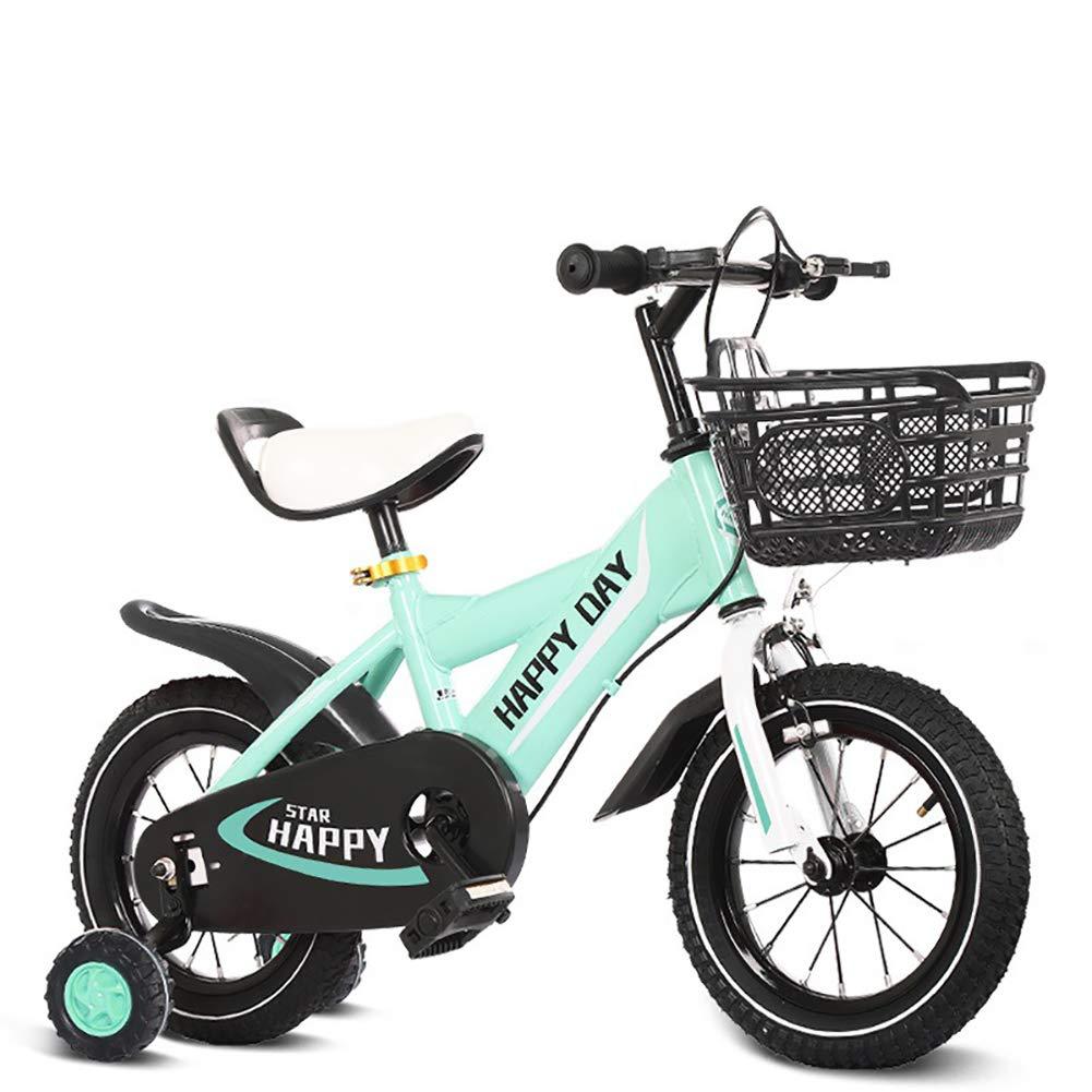 BAICHEN Bici per Bambini Bicicletta per Bambini con la Ruota di addestramento 14 12 16 18 Pollici Ragazzi e Ragazze in Bicicletta,Adatto a Bambini di 2-9 Anni,blu,12inches