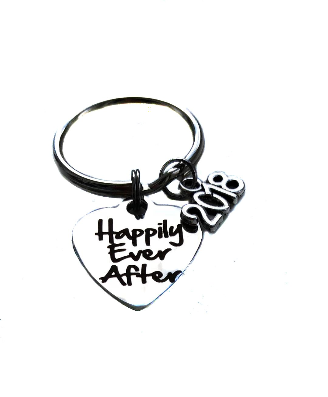 Stainless Steel Happily Ever After 2018 Charm, Keychain, Wedding Engagement Bridal Shower Gift