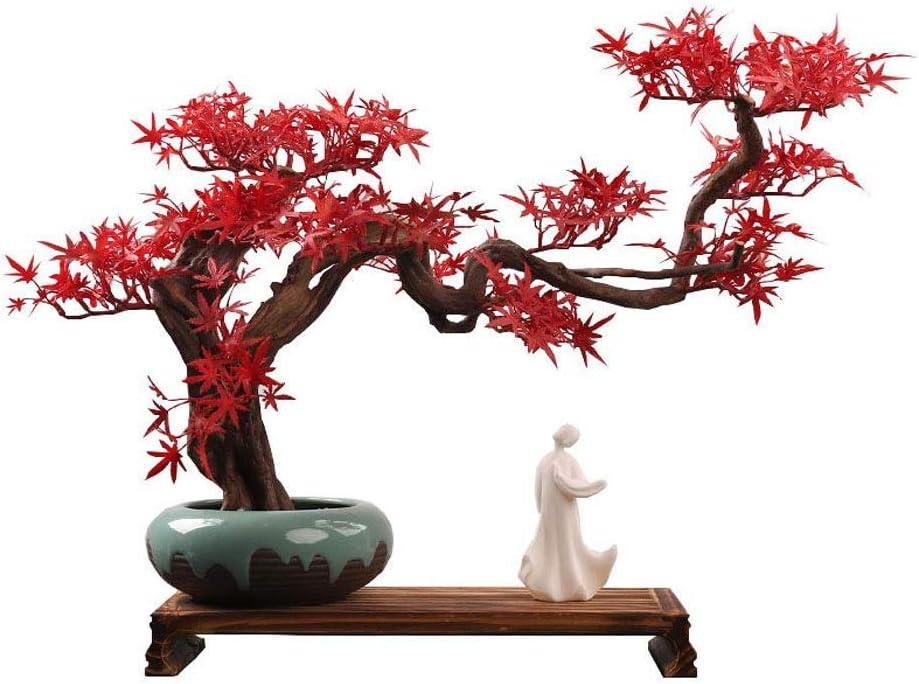 HYRGLIZI Plantas Artificiales Árbol bonsái Falso Adornos artesanales de Tallado de raíz de Estilo Chino Creativo, Arce Rojo Artificial Zen Bonsai Falso Decoración del hogar, Maceta de cerámica Maceta