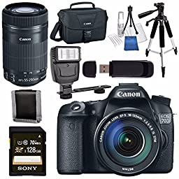 Canon EOS 70D DSLR Camera with 18-135mm STM Lens + Canon EF-S 55-250mm Lens + Canon 100ES EOS Shoulder Bag Bundle