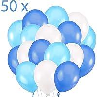 50 Globos Azul Blanco y Turquesa Brilante