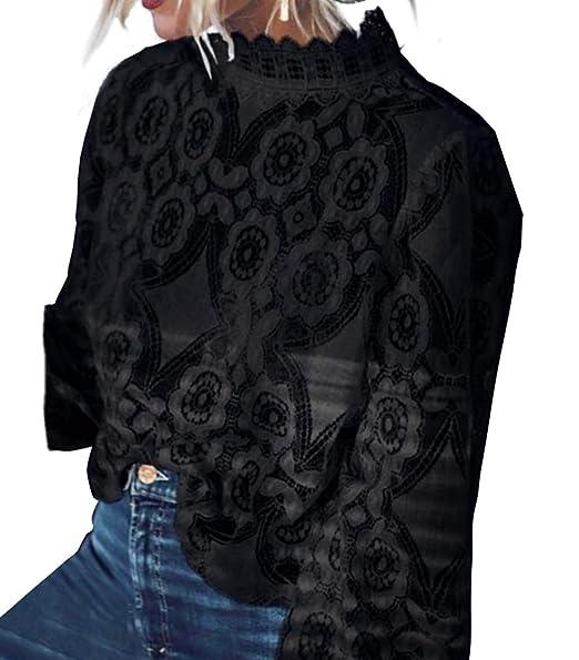 92bb085da4f89b Asskdan Women's Mock Neck Long Sleeve Floral Mesh Lace Sheer Crochet Blouse  Top T-Shirt