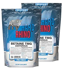 Hard Rhino Betaine Trimethylglycine (TMG) Powder, 1 Kilogram (2.2 Lbs), Unflavored, Lab-Tested, Scoop Included