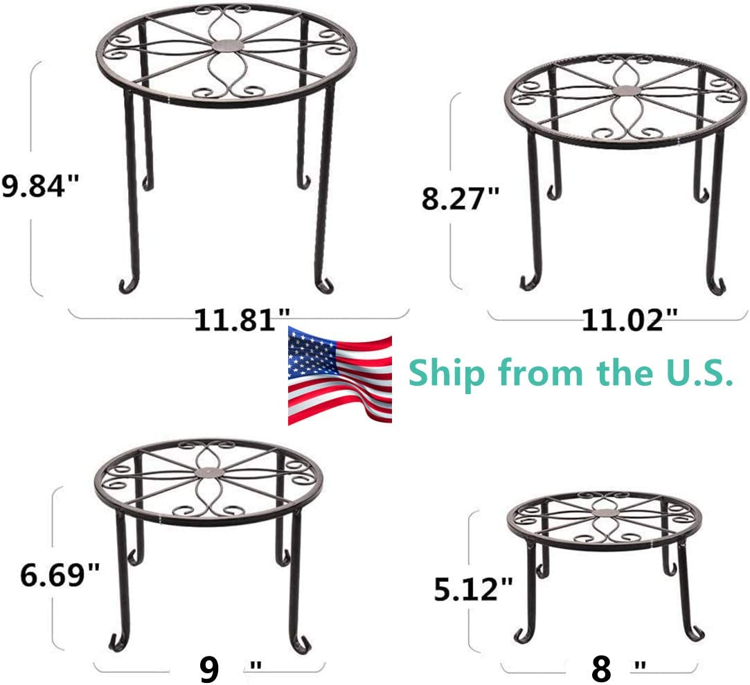 Wrought Iron Metal 4-1 Round Plant Stand for Indoor or Outdoor Patio Multiple Plants or Flower Pot Holder Black Packet of 4