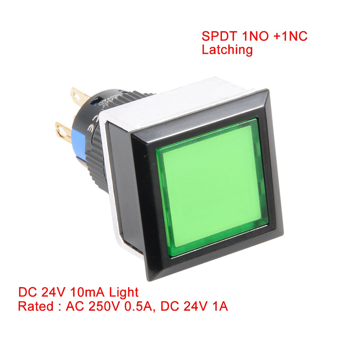 Uxcell Dc24v 10ma Green Lamp Square 5 Terminals Latching Dc 24v Push Button Selflock Switch Led Light Momentary 16mm Thread Spdt 1no 1nc Automotive
