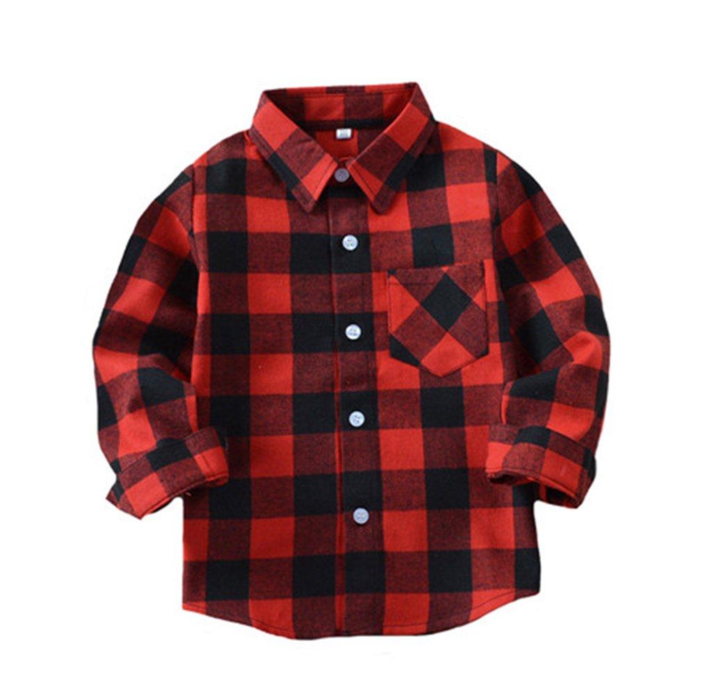 Tortor 1Bacha Kid Boys' Long Sleeve Button Down Plaid Flannel Shirt Red Black 7-8