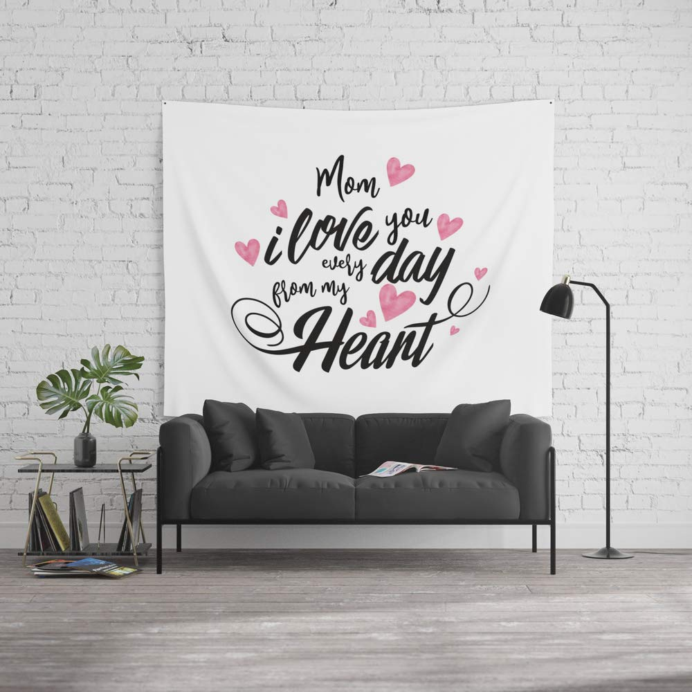 Society6 Wall Tapestry, Size Large: 88'' x 104'', Mothers Day, Love You Every Day, Mom, Mommy, Present by meganmorrisart
