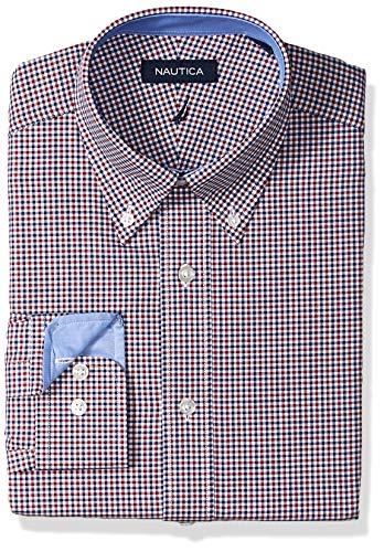 Fit Tattersall Cotton - Nautica Men's Classic Fit Button Down Collar Dress Shirt, red/Navy Mini Tattersall, 15.5 34/35
